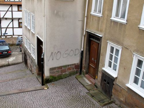 Never has a NO GOD graffito graced a more bourgeois niche!