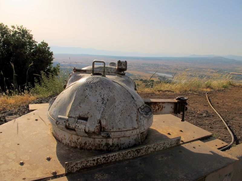 Hatch in Foreground Israel in Background Golan Heights Outpost