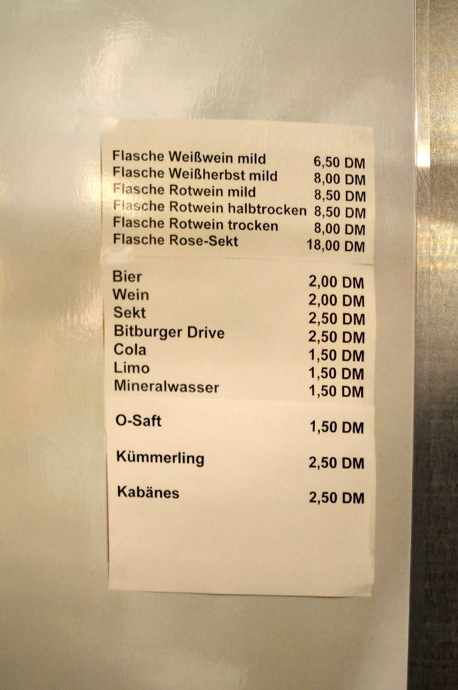 Regierungsbunker Price List for Refreshments During War Exercise