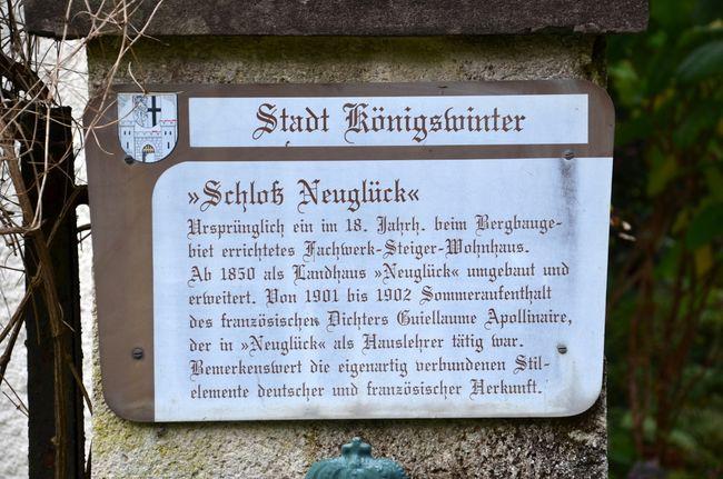 Schloss Neuglück Info Plaque
