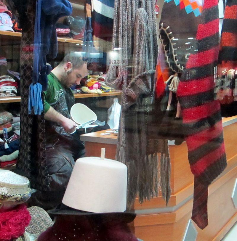 030 - Prizren - Man Trimming Traditional White Felt Hat