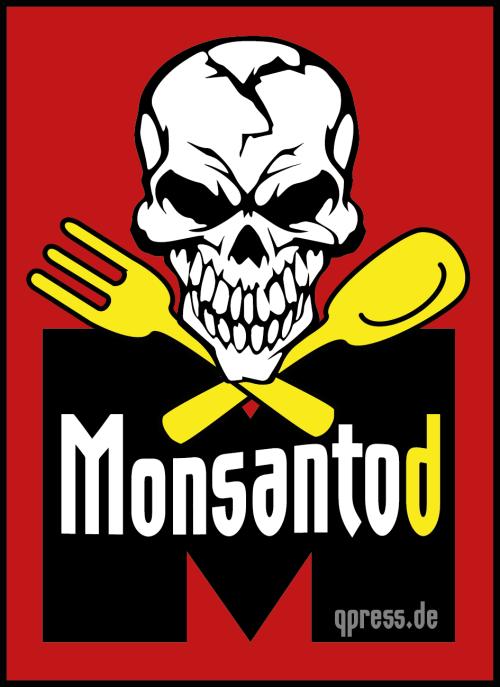 Monsanto-Logo-Monsantod-Gift-Pestizid-lebensmittel-nahrung-Gentech-Schaedel-Loeffel-Gabel-Tod-vergiftung-qpress